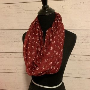 Accessories - Burgundy anchor print  infinity scarf